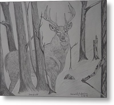 Metal Print featuring the drawing Stand Off by Gerald Strine