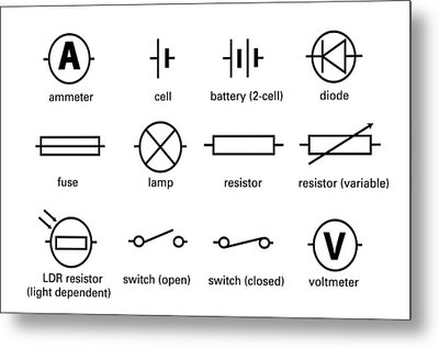 Standard Electrical Circuit Symbols Metal Print by Sheila Terry
