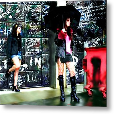Metal Print featuring the painting Standing In The Rain by Jann Paxton