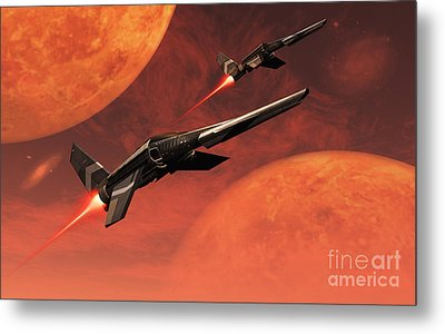 Star Fighters On A Routine Space Patrol Metal Print by Mark Stevenson