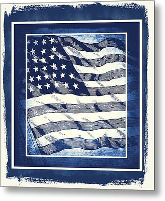 Star Spangled Banner Blue Metal Print by Angelina Vick