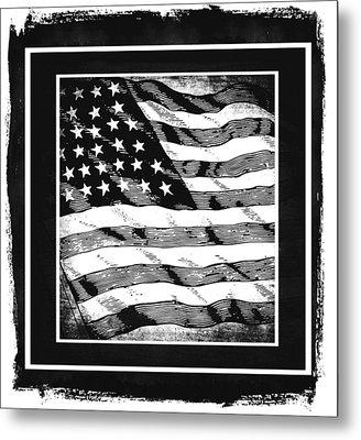 Star Spangled Banner Bw Metal Print by Angelina Vick