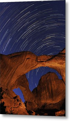 Star Trails Over Double Arch Metal Print by Craig Ratcliffe
