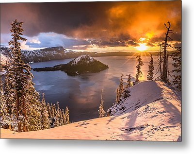 Starburst Sunrise At Crater Lake Metal Print