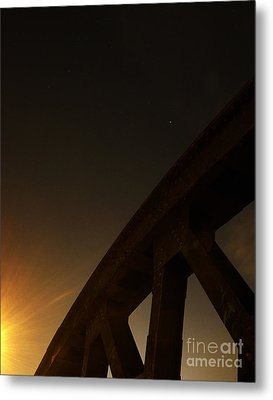 Metal Print featuring the photograph Starry Night On Sunset Bridge by Andy Prendy