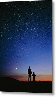 Starry Sky And Stargazers Metal Print by David Nunuk