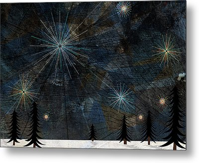 Stars Glistening In The Sky Above Pine Trees And Snow On The Ground Metal Print by Jutta Kuss