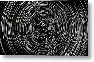 Startrails With Polaris At Center Metal Print by Cristian Mihaila
