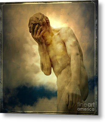 Statue Of Human Covering Face Metal Print by Bernard Jaubert