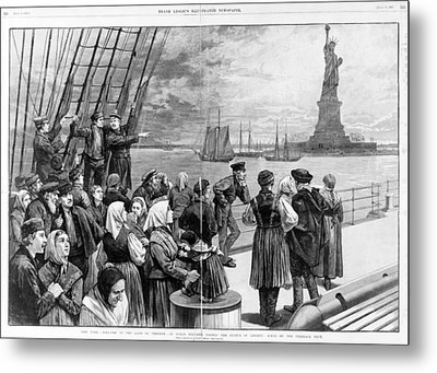 Statue Of Liberty. Welcome To The Land Metal Print by Everett