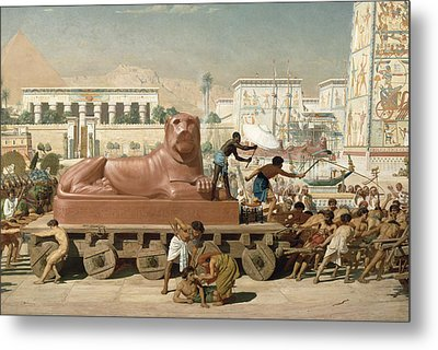 Statue Of Sekhmet Being Transported  Detail Of Israel In Egypt Metal Print by Sir Edward John Poynter