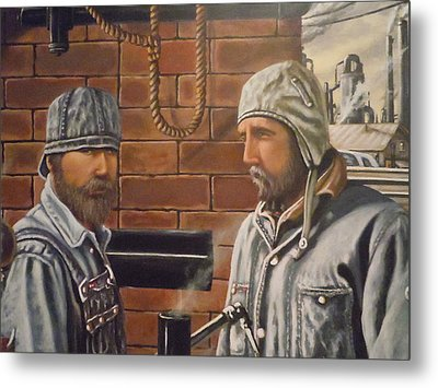 Metal Print featuring the painting Steam Fitters At The Mill by James Guentner