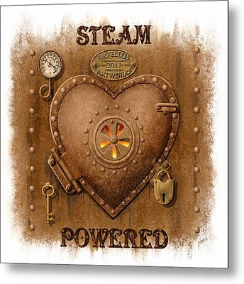 Steam Powered Heart Metal Print by Artellus Artworks