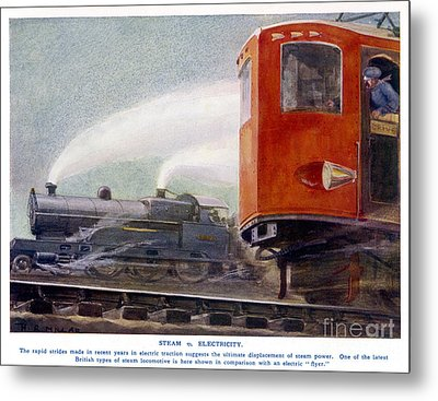 Steam Trains Versus Electric Metal Print by Mary Evans and Photo Researchers