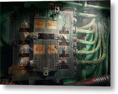 Steampunk - Naval - Electric - Lighting Control Panel Metal Print by Mike Savad