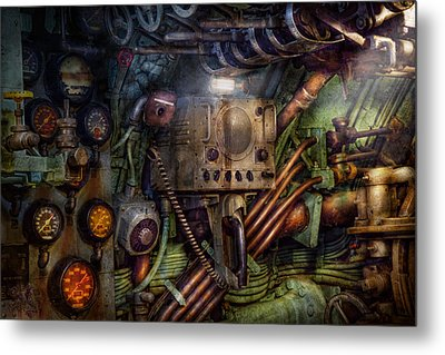 Steampunk - Naval - The Comm Station Metal Print by Mike Savad