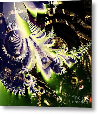 Steampunk Abstract Fractal . Square . S2 Metal Print by Wingsdomain Art and Photography