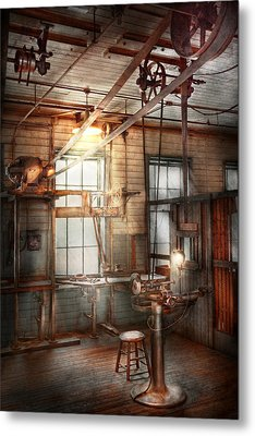 Steampunk - Machinist - The Grinding Station Metal Print by Mike Savad