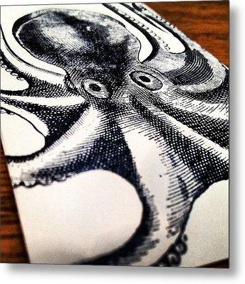 #steampunk #octopus #vintage Metal Print by Aileen Munoz