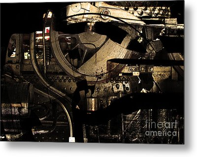 Steampunk Patent 1215 Prototype A . Gold Version Metal Print by Wingsdomain Art and Photography