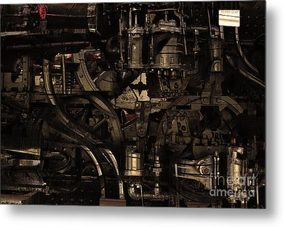 Steampunk Patent 1215 Prototype B . Gold Version Metal Print by Wingsdomain Art and Photography
