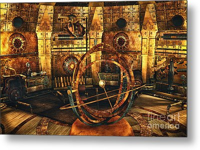 Steampunk Time Lab Metal Print