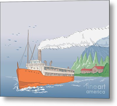 Steamship Steamboat Vintage Metal Print by Aloysius Patrimonio