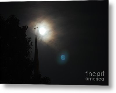 Steeple And Two Moons Metal Print