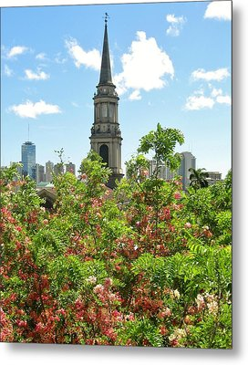 Metal Print featuring the photograph Steeple Peeks Through Shower Trees by Craig Wood