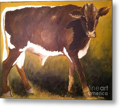 Metal Print featuring the painting Steer Calf by Vonda Lawson-Rosa