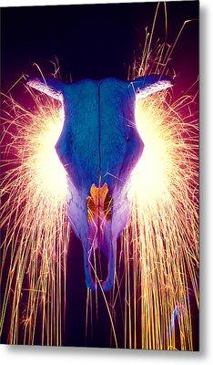 Steer Skull With Sparks  Metal Print by Garry Gay