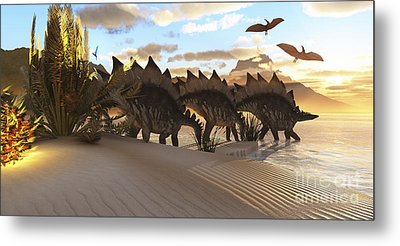 Stegosaurus Dinosaurs Graze Among Metal Print by Corey Ford