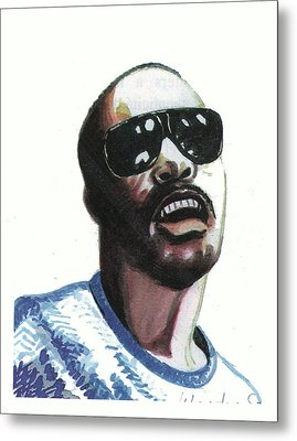 Stevie Wonder Metal Print by Emmanuel Baliyanga