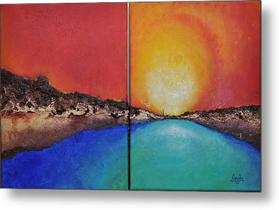 Metal Print featuring the painting Stilbaai Sunset by Linda Ferreira