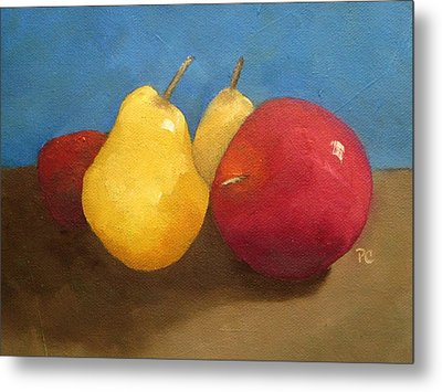Still Life Apples And Pears Metal Print