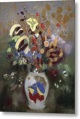 Still Life Of A Vase Of Flowers Metal Print by Odilon Redon