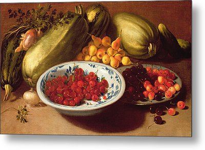 Still Life Of Cherries - Marrows And Pears Metal Print by Italian School