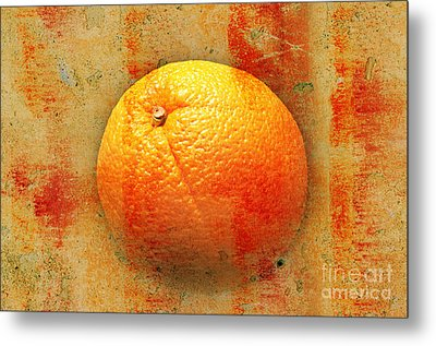 Still Life Orange Abstract Metal Print by Andee Design