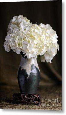 Still Life Vase With Hydrangeas Metal Print