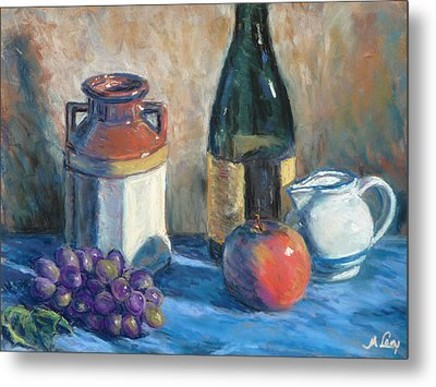 Still Life With Crock And Apple Metal Print by Michael Camp