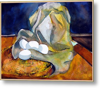 Still Life With Eggs Metal Print by Mindy Newman
