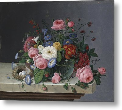Still Life With Flowers And Bird's Nest Metal Print by Severin Roesen