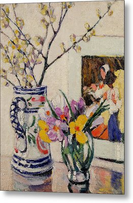 Still Life With Flowers In A Vase   Metal Print by Rowley Leggett