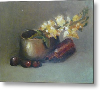Still Life With Om Bowl Grapes And White Flowers Metal Print by Jessmyne Stephenson