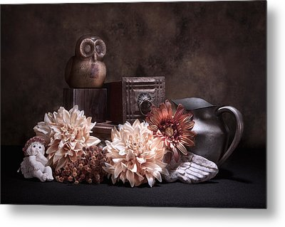 Still Life With Owl And Cherub Metal Print