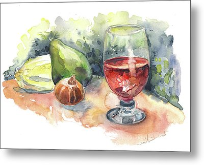Still Life With Red Wine Glass Metal Print by Miki De Goodaboom