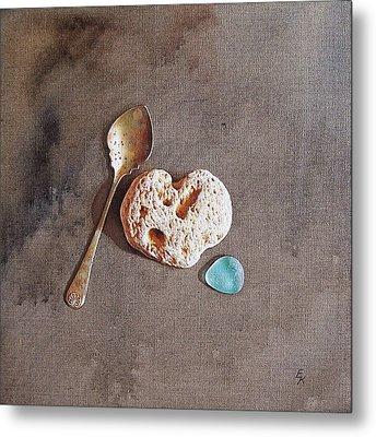 Still Life With Teaspoon And Heart Stone Metal Print by Elena Kolotusha
