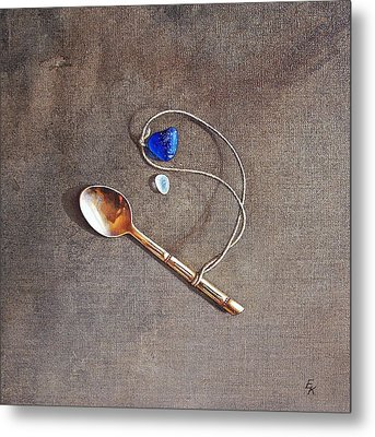 Still Life With Teaspoon And Sea Glass Metal Print by Elena Kolotusha