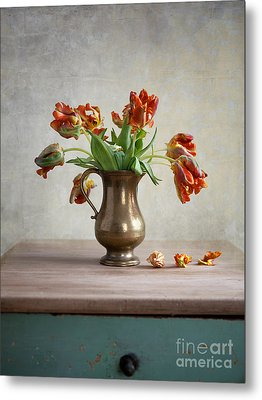 Still Life With Tulips Metal Print by Nailia Schwarz
