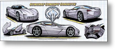 Metal Print featuring the drawing 2010 Stingray Concept Corvette by K Scott Teeters